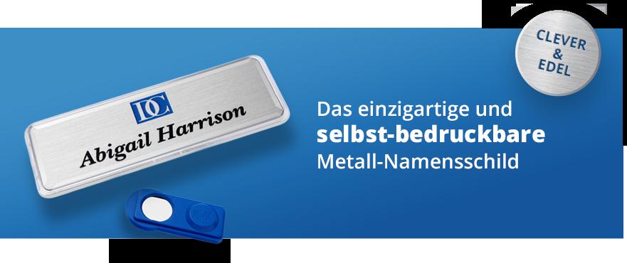 Das einzigartige und selbst-bedruckbare Metall-Namensschild